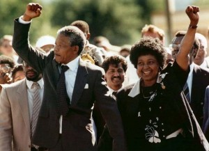 Nelson Mandela upon his release from prison, Feb 11, 1990, with then-wife Winnie