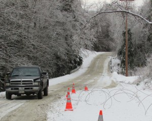 Perilous conditions in Maine during Dec 2013 ice storm, photo Read Brugger