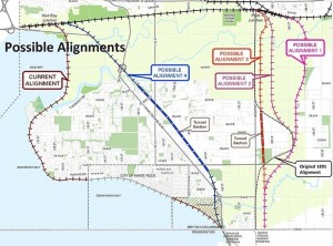 City of Surrey's map shows rail realignment options