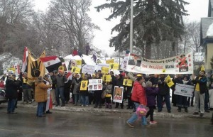 Egyptian Canadians in Ottawa on Jan 11 protest the coup referendum to take place Jan 14