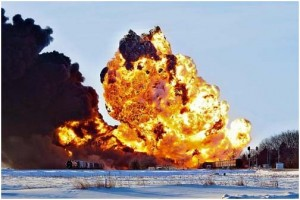 Oil train explodes after crashing into a derailed grain train just west of Casselton, N.D., Dec 30, 2013