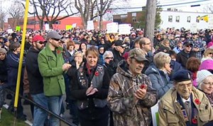 3,000 veterans and supporters in Sydney NS on Nov 9, 2013 protest closing of eight Veterans Affairs offices in Canada, photo from CBC