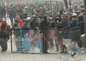 Protesters, dominated by rightists, clash with police in Kiev, Feb 22, 2014, photo Alex Kozachenko, Flikr Commons