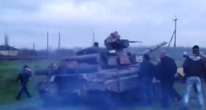 Civilians confront a Ukrainian tank crew in eastern Ukraine, from Youtube