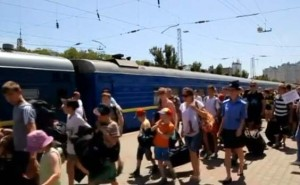Children evacuated from the city of Luhansk to Crimea in early June, from a Reuters video report