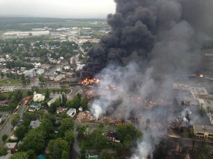 Lac Mégantic oil train disaster, July 6, 2014, photo from Wikimedia