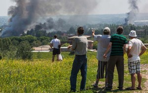 Shelling of the city of Slavyansk in eastern Ukraine on June 9, 2014, from Russia Today