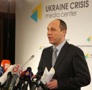 Andriy Parubiy announces first army conscription drive, in March 2014