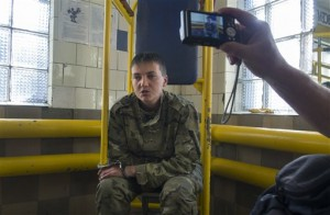 Nadezhda Savchenko speaks to journalists shortly after her arrest in Luhansk on June 19, 2014, AP photo