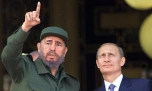 Presidents Vladimir Putin and Fidel Castro in Cuba in 2000