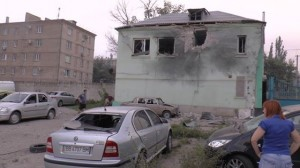 Recent Ukraine army shelling of homes in Luhansk, photo UOHR
