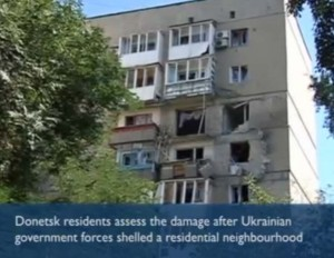 Shelling of apartment in Donetsk, July 29, 2014, image from Guardian video