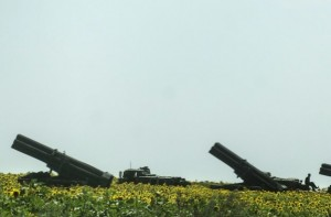 Ukraine army rocket launchers in Donetsk region July 12, photo BBC