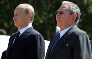 Vladimir Putin state tour of Latin America, July 2014, pictured with Cuban President Raul Castro