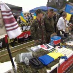 'Right Sector' fundraising booth at Ukraine Independence Day event in Toronto, Aug 23, 2014, CBC screenshot