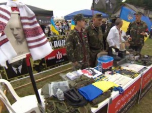 Right Sector fundraising booth in Toronto, August 23, 2014, CBC screenshot