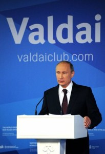 President Vladimir Putin speaks in Sochi, Russia on Oct 24 to the 11th conference of the Valdai Discussion Club, photo Office of President Putin