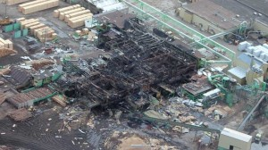Lakeland sawmill after 2012 explosion, photo by CBC
