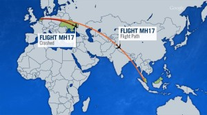 MH 17 flight path, image from CTV News