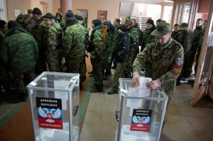 Polling station inside a rebel military base during Nov 2, 2014 election in the city of Donetsk