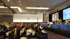 Standing ovation at BC Federation of Labour convention Nov 25, 2014 for Grand Chief Stewqrt Phillip after he announced he will cross the injunction line on Burnaby Mountain