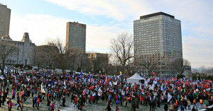 Anti-austerity march rally in Quebec City, Nov 29, 2014, photo Pascal Ratthé