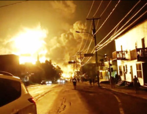 Downtown Lac-Mégantic, Quebec at midnight on July 6, 2013, image from the Weather Channel-InsightClimate News documentary