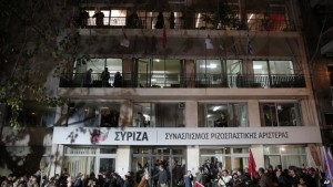 Headquarters of Syriza Party in Athens on election night, Jan 25, 2015