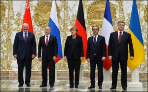 Leaders meet in Minsk, Belarus, to discuss a ceasefire in Ukraine, Feb 11, 2015