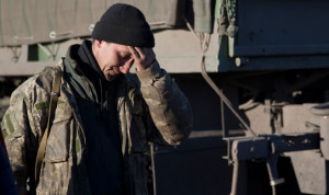 Ukrainian soldier in Debaltseve in Feb. 2015, photo by Vadim Ghirda, AP