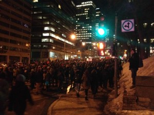 Student-led anti-austerity march in Montreal on March 24, 2015, photo by Thomas Armelin on Twitter
