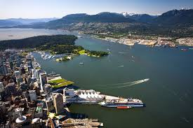 Inner (foreground) and outer harbours of Vancouver BC