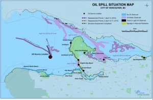 Oil spill situation map one week later (City of Vancouver)