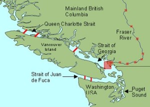 Red square shows location of Vancouver BC