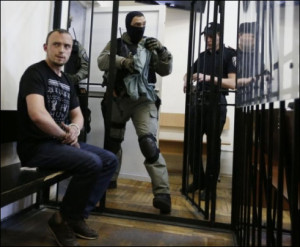 Denys Polischuk, arrested for murder of journalist Oles Buzina (UNIAN photo, June 18, 2015)