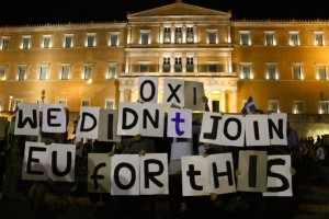 Rally in Athens on evening of June 29 (Jerome Roos, The Guardian)