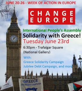 Rally for solidarity with Greek people, in London June 23, 2015