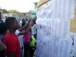 Man looks over voters list in Tabarre (Port au Prince)