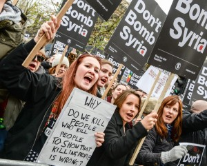 Protest in London Dec 1, 2015 against Britain joining U.S. bombing in Syria (Getty image)