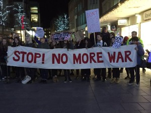 Protesting in Exeter UK against Britain joining U.S. bombing in Syria, Dec 1, 2015