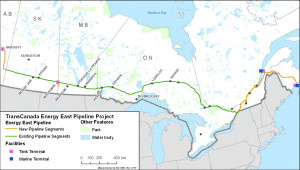 Energy East pipeline (St Lawrence River terminal proposal was cancelled in Nov 2015)