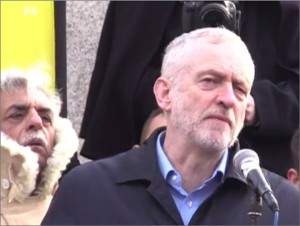 Labour Party leader Jeremy Corbyn speaks to anti-nuclear, anti-Trident submarine rally in London on Feb 27, 2016