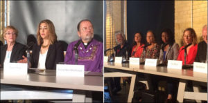 Two photos from the launch of the LEAP Manifesto in Toronto, Sept 15, 2015 (Naomi Klein is second from left)