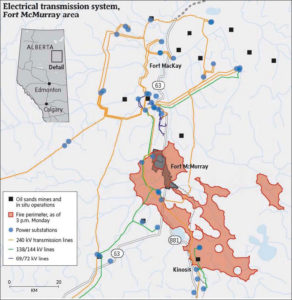 Map of Fort McMurray, Alberta region (from Globe and Mail on Monday, May 9, 2016)
