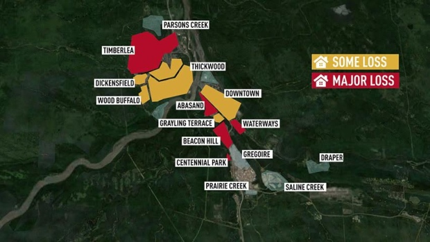 Fort Mcmurray Wildfire Map.Map Of Damage To Neighbourhoods In Fort Mcmurray As Of May 4 2016