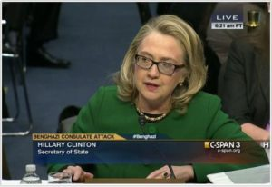Then Secretary of State Hillary Clinton testifies before Congress on Jan. 23, 2013 about the fatal attack on the U.S. mission in Benghazi, Libya, on Sept. 11, 2012