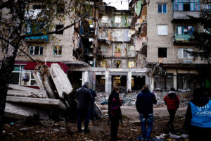 Aftermath of shelling by Ukrainian armed forces of neighbourhood in eastern Ukraine (UNHCR photo)