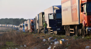 Trucks blocked by right-wing protest at Crimea-Ukraine border, Sept 2015 (Genya Savilov, AFP)