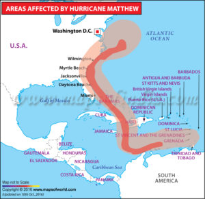 Path of Hurricane Matthew in October 2016