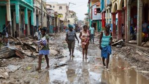 Street in center of Haitian city of Jérémie following passing of Hurricane Matthew on Oct 4, 2016 (UN photo)